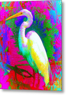 Colorful Egret Metal Print by Doris Wood