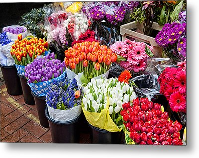 Colorful Flower Market Metal Print
