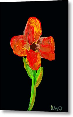 Colorful Flower Painting On Black Background Metal Print by Keith Webber Jr