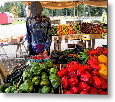 Colorful Fruit And Veggie Stand Metal Print by Kym Backland