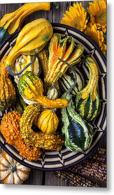 Colorful Gourds In Basket Metal Print by Garry Gay