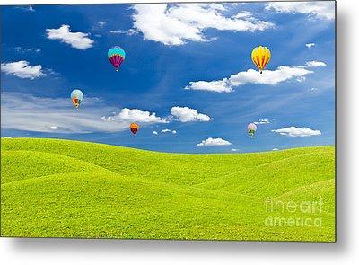 Colorful Hot Air Balloon Against Blue Sky Metal Print