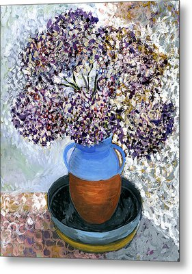 Colorful Impression Of Purple Flowers In Blue Brown Ceramic Vase Yellow Plate With Green Branches  Metal Print by Rachel Hershkovitz