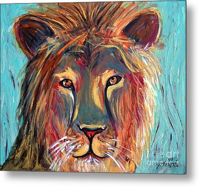 Colorful Lion Metal Print by Jeanne Forsythe
