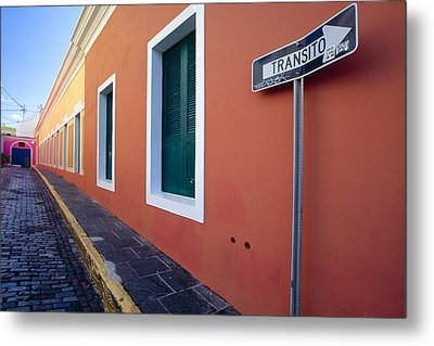 Colorful Narrow Street With A Sign Metal Print by George Oze