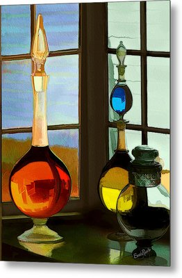 Colorful Old Bottles Metal Print