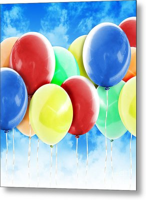 Colorful Party Celebration Balloons In Sky Metal Print by Angela Waye