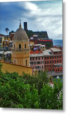 Colorful Village Of Vernazza Located In Cinque Terre Liguria Italy Metal Print by Jeff Rose