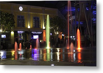 Colorful Water Jets At Clarke Quay In Singapore Metal Print by Ashish Agarwal