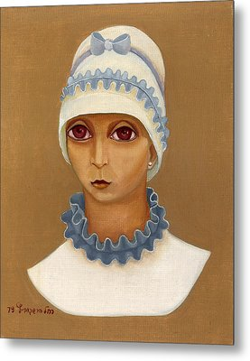 Colorful Young Woman Brown Eyes Blue White Hat Collar  With Ribbon Small Lips Metal Print by Rachel Hershkovitz