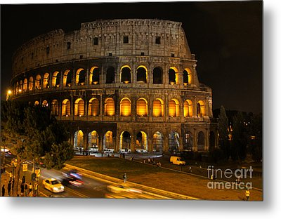 Colosseum By Night Metal Print by Chris Hill