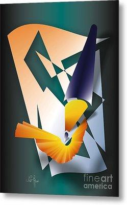 Metal Print featuring the digital art Coloured Pencil by Leo Symon