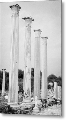 Columns In The Central Courtyard And Stoa Gymnasium And Baths In The Ancient Site Of Salamis Metal Print by Joe Fox