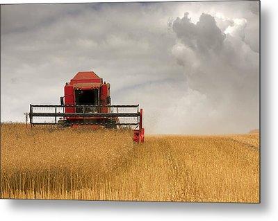 Combine Harvester, North Yorkshire Metal Print by John Short
