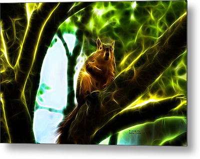 Metal Print featuring the digital art Come On Up - Fractal - Robbie The Squirrel by James Ahn