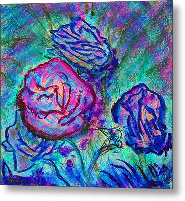 Metal Print featuring the painting Coming Up Roses by Richard James Digance