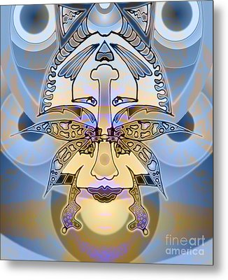 Commemorative Upside Down Masg Art By Topsy Turvy Ambigram Artist L R Emerson II Metal Print by L R Emerson II