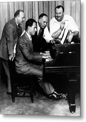 Composer George Gershwin At The Piano Metal Print by Everett
