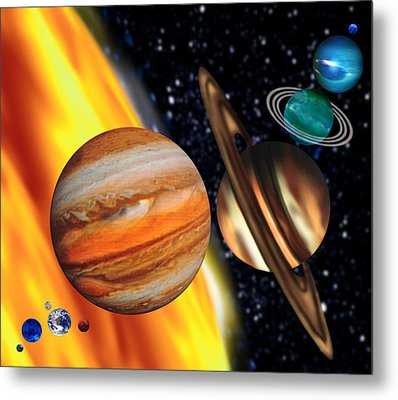 Computer Artwork Showing Relative Sizes Of Planets Metal Print by Victor Habbick Visions