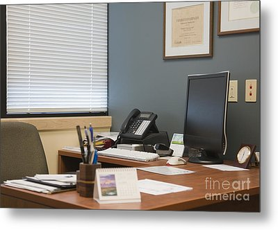 Computer Monitor And Office Space Metal Print by Andersen Ross