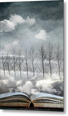 Conceptual Image Of Open Book With Floating Clouds And Trees Metal Print by Sandra Cunningham