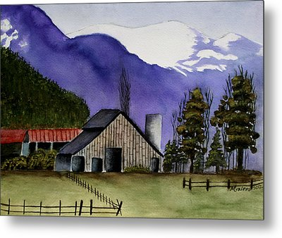 Concrete Barn Watercolor Metal Print by Mary Gaines
