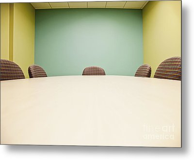 Conference Room Table And Chairs Metal Print