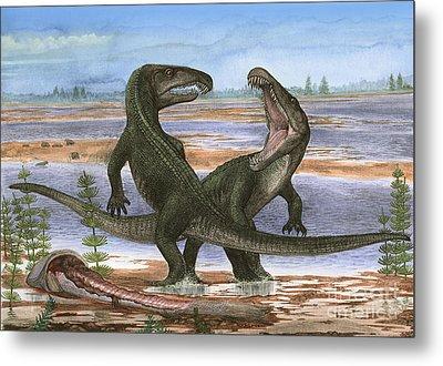 Confrontation Between Two Prehistoric Metal Print by Sergey Krasovskiy