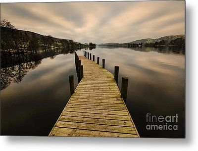 Coniston Water Jetty Metal Print by John D Hare