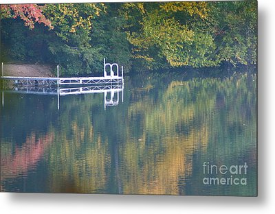 Connecticut Autumn Reflections Metal Print by Cindy Lee Longhini