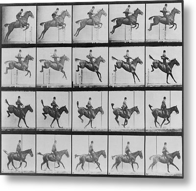 Consecutive Images Of Man Riding Metal Print by Everett