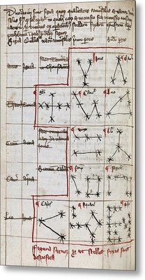 Constellations, 14th Century Manuscript Metal Print by Middle Temple Library