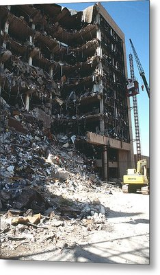Construction Workers Erect An External Metal Print by Everett
