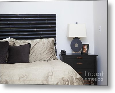 Contemporary Bed And Nightstand Metal Print by Inti St. Clair