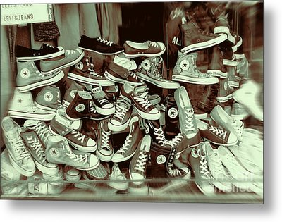 Converse Running Shoe In Window Metal Print by Helen  Bobis