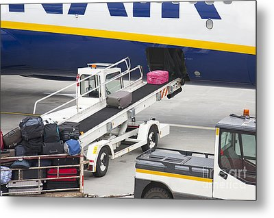Conveyor Unloading Luggage Metal Print by Jaak Nilson