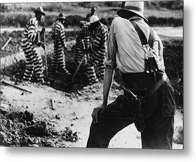 Convict Chain Gang And Prison Guard Metal Print by Everett