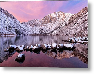 Convict Lake Sunrise With Fresh Snow Metal Print by Justin Reznick Photography