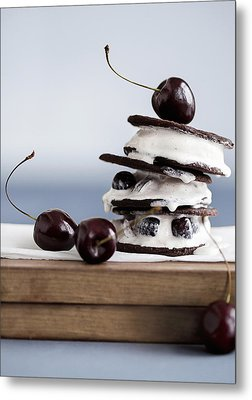 Cookies With Ice Cream And Cherries Metal Print