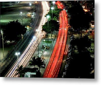 Copacabana At Night Metal Print by Luiz Felipe Castro