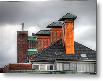 Copper-lined Chimneys On A Grey Sky Metal Print by Matthew Green