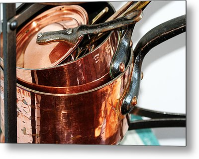 Copper Pots Metal Print