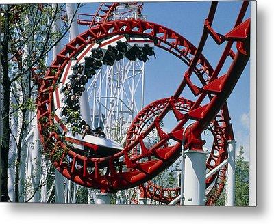 Corkscrew Coil On A Rollercoaster Ride Metal Print by Kaj R. Svensson