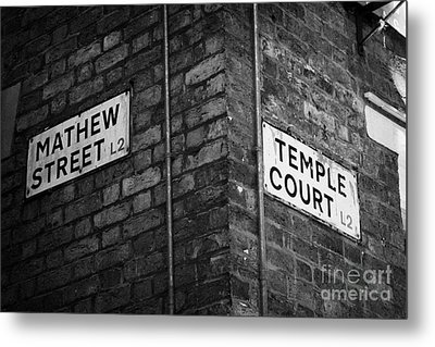 Corner Of Mathew Street And Temple Court In Liverpool City Centre Birthplace Of The Beatles  Metal Print by Joe Fox