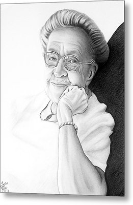 Metal Print featuring the drawing Corrie Ten Boom by Danielle R T Haney