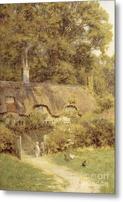 Cottage At Farringford Isle Of Wight Metal Print by Helen Allingham