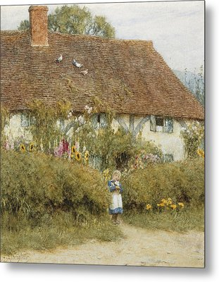 Cottage At West Horsley Surrey Metal Print by Helen Allingham