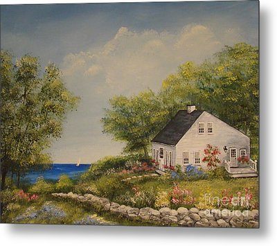 Cottage By The Lake Metal Print by Leea Baltes