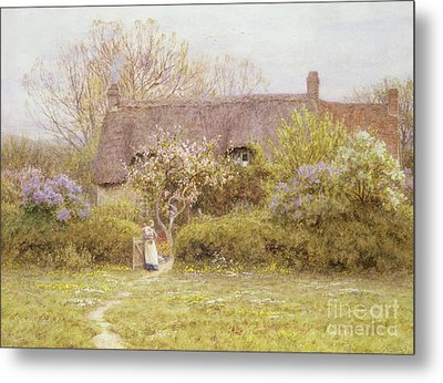 Cottage Freshwater Isle Of Wight Metal Print by Helen Allingham