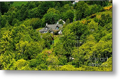 Cottage In The Woods Metal Print by Pravine Chester